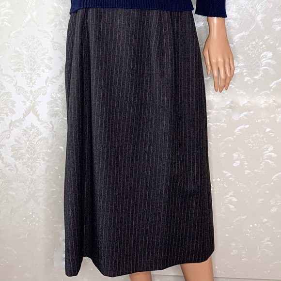Burberry Dresses & Skirts - Vintage Burberry's Gray Red Pinstripe Wool Skirt